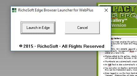 Edge Preview Launcher for WebPlus