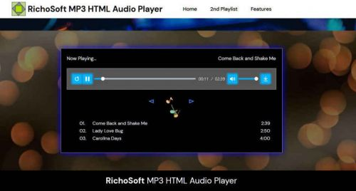 HTML5 MP3 Audio Player for Mobirise