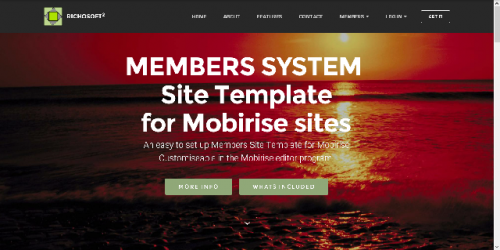 Mobirise Membership System Template for v3.08 or later from RichoSoft Squared