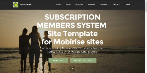 Mobirise Subscription Membership System Template for v3.08 or later from RichoSoft Squared