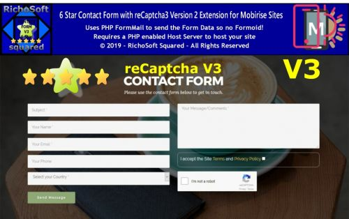 Mobirise 6 Star reCaptcha3 Contact Form Extension